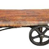 VINTAGE INDIA CHART COFFEE TABLE ON WHEELS , INDUSTRIAL FURNITURE RECYCLE WOOD JODHPUR
