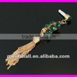 Brass Czech Rhinestone Mobile Mono Dustproof Jack Plugs with Tassels Charms(MOBA-H045-4)