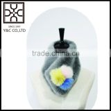 2015 New Design Fake Fur Scarf with Fuzzy Ball