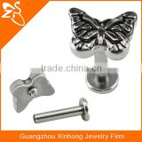 Casting Butterfly Shaped Lip Piecing Body Jewelry Fashion Screw Fit Lip Stud Rings Labret