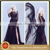 ALD02 Generous Black Lace Appliqued Bodice Long Sleeve Formal Prom Gown 2016 Tulle Full Length Long Backless Prom Dress