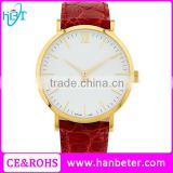 Rose gold case red leather straps white watch dial women watches with sapphire glass