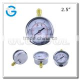 High quality stainless steel brass internal 12 clock pressure gauge