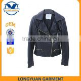 motocycle jacket women clothing made by pu pu leather jacket