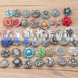 2016 Latest 18mm ancient silver Crystal Press Metal flowering DIY Snap Button for bangles