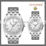 Fashion Diamond Watch Stainless Steel Back Watch Couple Lover Wrist Watch