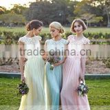 B03 Custom Made O Neck Cap Sleeve Lace Chiffion Bridesmaid Dresses Beach Style A Line Long party dresses for teens