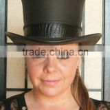 Steampunk Hat Victorian Classic Leather Standard HIGH Top Hat Dragon Skin Band