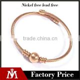 womens wire stainless steel bangle New design guangzhou high quality bracelet bead charm bangle jewelry