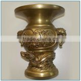Vintage Eastern Golden Chinese Brass Dragon Flower Vase