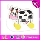 2016 hot sale Wooden Lovely Cow Pull Along Toy,popular Cute wooden cow shape toy,wholesale cheap kid wooden animal toy W05B067