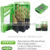 25pcs HSS titanium twist drill bit set in plastic case