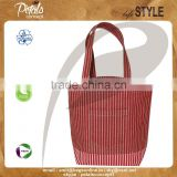 Reusable waterproof jute beach bag with custom stripe print available in different color shade