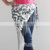 High quality net shining sequins decorative triangle belly dance hip scarf