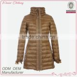 garment/apparel manufacturer frill chin collar ruffle cuff with zipper back down feather new design coat
