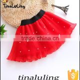 girls red tutu skirts with pearl children black elastic band mini skirts