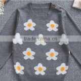 new design stylish teenager kids girls flower knitting pullover sweaters