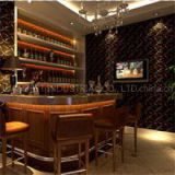 L Curved Shape Wine Bar Counter Artificial Stone Solid Surface With Wood Cabinet