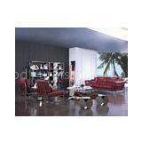 Luxury Leather Sofa Set, Red / Black Feather Living Room Couch;Foshan sofa factory