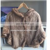 Knitted muskrat fur cape shawl with hood