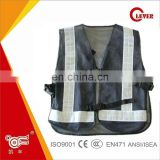Kids 60GSM Multi-use Black Reflective Mesh Safety Vest With Plastic Buckle