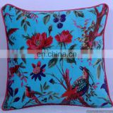 "16""X16"" Indian Beautiful Cushion Cover Velvet Fabric Handmade Bird Floral Pattern Pillow Case Throw"
