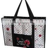 Environment friendly PP woven big shopping bags with pocket