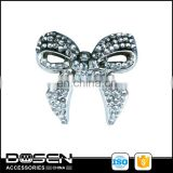 Shiny Bling Giltter Lovely Bowknot Shape Silver Rhinestone Metal Badge 3D Metallic Decorations for Garment Leather Bag Bracelet