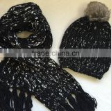 Fabulous fancy chunky yarn metallic lurex blended cable knitted women winter beanie hat faux fur pom fringe scarf