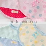 2016 Wholesale high quality products infant babys bib with cute border and polka dot 2pcs set for girls and boys