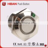 2014 new type ,Flat head ring-illumination momentary pin terminal metal push button swtich CE ROHS (16mm)