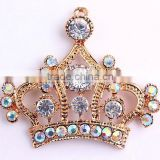 2016 Fashion Large Charm Gold Crown Rhinestone Cartoon Alloy Zinc Silver Pendants Fore Kids Jewelry Making!