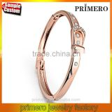 Leather Belt Bangle Women Fine Jewelry Real 18K Gold Plated Belt Bracelets