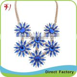 Fashion women full collar necklace big glass gem pendant necklace jewelry