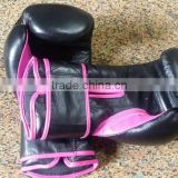 Women's Pro Style Training Gloves, Balck and Pink, 12 oz., Boxing Sparring Mitts