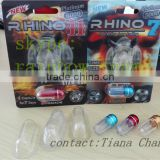 rhino 3D card small PS bottle with Aluminum Caps/3D blister paper card small bottle is for the single capsule pill inserting
