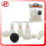 Soft plastic toy clear bowling ball play set
