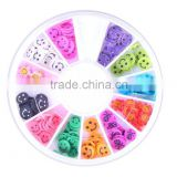 Factory Supplies Various 12 Styles Acrylic Nail Art Finger Decoration Cosmetics Clay Fimo Smile Face Nail Tips Wheel