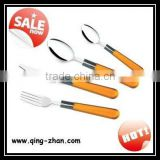 Stainless steel small kitchen tool plastic cutlery 24pcs colored orange handle flaware set
