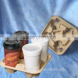 4 Cups Biodegradable Molded Pulp Coffee Carrier Tray