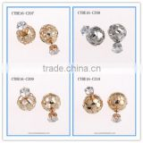 Wholesale Mix Design Gold Plated Hollow Metal Ball Clear Crystal Zircon Artificial Faux Diamond Stud Earrings CTBE16-CZ07