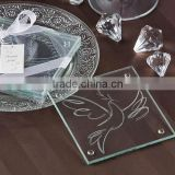"""The bird of peace"" theme square glass table coster"