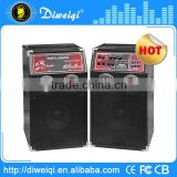 promotion high quality coaxial pa stage DJ speaker with MIXER Battery / wireless MIC