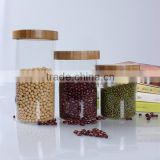 china supplier decorative clear high borosilicate bamboo lid sealing glass storage container