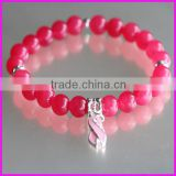 KJL-BD5084 Hot style! China Wholesaler gem pink stone bead bracelet Charm ribbon breast cancer Awareness Stretch bracelet