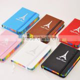 P329 Hot selling elastic casebound notebook,elastic bound notebook,elastic band pen loop on the spine