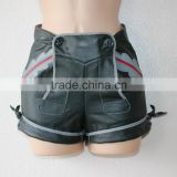 Green Real Leather Bavarian Braces Shorts