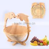 Sea Dolphin Style Carved Foldable Wood Bamboo Made Rustic Vegetable Fruit Dish Basket Bowl