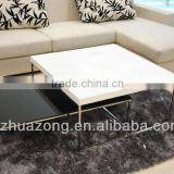 Modern White With Black High Gloss MDF Coffee Table Set