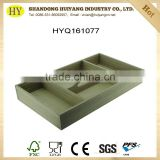custom compartment unfinished wooden tray with handle